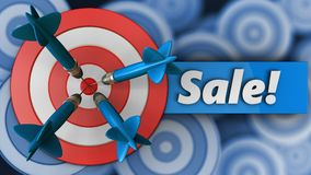 3d big taget with sale. 3d illustration of big taget with sale over many targets background Stock Photos