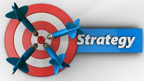 3d big taget with strategy. 3d illustration of big taget with strategy over white background Stock Photography