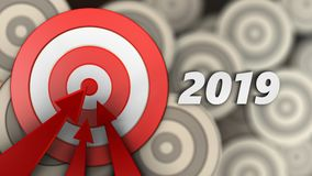 3d big taget with 2019 year sign. 3d illustration of big taget with 2019 year sign over multiple targets background Royalty Free Stock Images