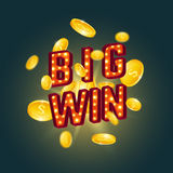 3D big win retro text. 3D big win retro text with glowing lamps and golden coins. Vector illustration Stock Photos