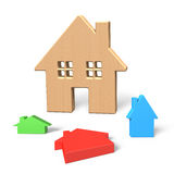 3D Big wooden house with three colorful small houses Royalty Free Stock Images