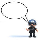 3d Biker with blank speech bubble. 3d render of a biker with a blank speech bubble Stock Images