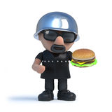 3d Biker eating a burger. 3d render of a biker holding a beef burger Stock Images
