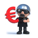 3d Biker with Euro currency symbol. 3d render of a biker holding a Euro currency symbol Royalty Free Stock Photos