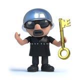 3d Biker holding a gold key. 3d render of a biker holding a gold key Stock Photography