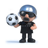 3d Biker holding a soccer ball. 3d render of a biker holding a football Royalty Free Stock Photo