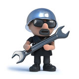 3d Biker holding a spanner Stock Photo