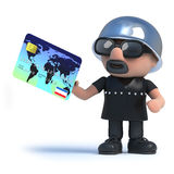 3d Biker pays with a debit card. 3d render of a biker holding a credit card Royalty Free Stock Photo