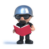 3d Biker reading a book Stock Photo