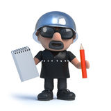 3d Biker takes notes. 3d render of a biker holding a notepad and pencil Royalty Free Stock Image