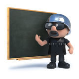 3d Biker teaches at the blackboard. 3d render of a biker standing next to a blackboard Stock Photos