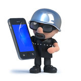 3d Biker using his new smartphone tablet device. 3d render of a biker holding a smartphone tablet device Royalty Free Stock Images