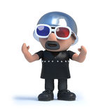 3d Biker watches a 3d movie. 3d render of a biker wearing 3d glasses Royalty Free Stock Image