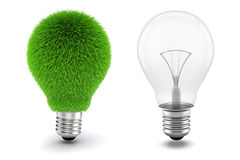 3d Bild der Glühlampe, stützbares Energiekonzept Lizenzfreies Stockbild