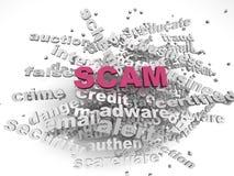 3d Bild Scam gibt Konzeptwort-Wolkenhintergrund heraus Lizenzfreie Stockfotos