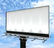 3d Billboard mock up on blue sky. 3d white empty steel Structure giant Billboard mock up Installed on the highway with  blue sky background Stock Photos