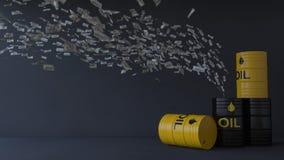 3d billete de banco de 100 dólares que vuela al tanque de aceite Imagen de archivo