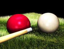 3D Billiard balls on the table. On the black background Royalty Free Stock Image