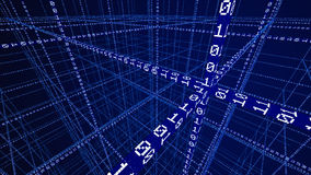 3D Binaire code die een netwerk vormen Stock Afbeeldingen