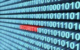 3d binary code in blue an word security in red with depth of field Stock Photography