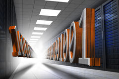 3d binary code in data center hallway. 3d binary code in orange and grey in data center hallway Royalty Free Stock Images