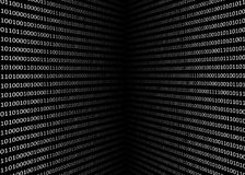 3D binary code screen. On black background Stock Images