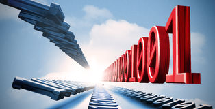 3d binary code in the sky. 3d blue and red binary code in the sky Royalty Free Stock Photo