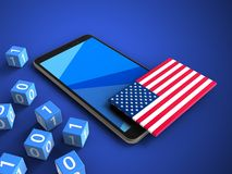 3d binary cubes. 3d illustration of mobile phone over blue background with binary cubes and USA flag Stock Image