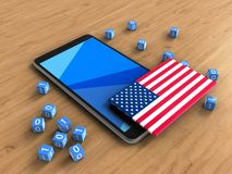3d binary cubes. 3d illustration of mobile phone over wooden background with binary cubes and USA flag Royalty Free Stock Photos