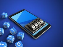 3d binary cubes. 3d illustration of mobile phone over blue background with binary cubes and lock dial Stock Photo