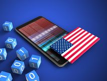 3d binary cubes. 3d illustration of mobile phone over blue background with binary cubes and USA flag Stock Photography
