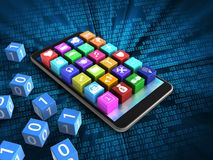 3d binary cubes. 3d illustration of mobile phone over digital background with binary cubes and application icons Stock Photos