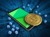 3d binary cubes. 3d illustration of mobile phone over digital background with binary cubes and bitcoin Royalty Free Stock Photo