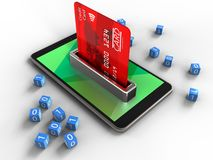 3d binary cubes. 3d illustration of mobile phone over white background with binary cubes and bank card Stock Image