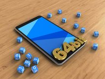3d binary cubes. 3d illustration of mobile phone over wooden background with binary cubes and 64 bit sign Royalty Free Stock Photo