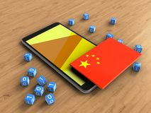 3d binary cubes. 3d illustration of mobile phone over wooden background with binary cubes and china flag Stock Image