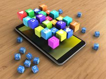 3d binary cubes. 3d illustration of mobile phone over wooden background with binary cubes and icons Stock Photos
