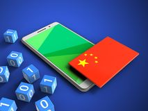 3d binary cubes. 3d illustration of white phone over blue background with binary cubes and china flag Royalty Free Stock Image