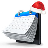 3d binder calendar with red santa's hat. On white background Stock Image