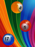 3D Bingo balls over multicoloured background Stock Images