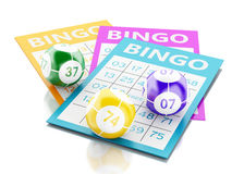 3d Bingo cards with colorful bingo balls. 3d renderer image. Bingo cards with colorful bingo balls.  white background Royalty Free Stock Photo