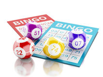 3d Bingo cards with colorful bingo balls. 3d renderer image. Bingo cards with colorful bingo balls.  white background Stock Photos