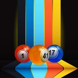 3D bingo lottery nalls over vertical stripes and shelve. 3D Illustration of Trio Of Bingo Lottery Balls Over Vertical Multicoloured Stripes and Shelve with Stock Photography