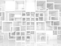 3d binnenland met witte chaotische vierkante cellenstructuur Royalty-vrije Stock Foto's
