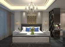3D Binnenland van de illustratieslaapkamer Royalty-vrije Stock Afbeelding