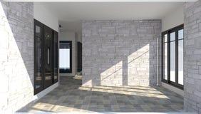 3D binnenland van de ruimte binnen een modern baksteenhuis Stock Afbeeldingen