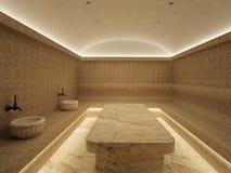 3d Binnenland van luxe Turks bad hammam royalty-vrije stock foto's