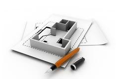 3d binnenlands plan Stock Illustratie