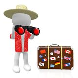3D binoculars concept. 3D cartoon character holding binoculars, travel suitcase with international stickers - great for topics like holiday, traveling Royalty Free Stock Photos