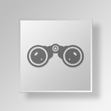 3D Binoculars icon Business Concept. 3D Symbol Gray Square Binoculars icon Business Concept Royalty Free Stock Images
